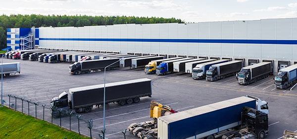 warehouse exterior with trucks