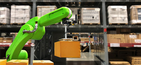 Robot arm in warehouse