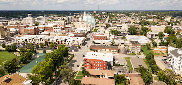 Aerial photograph of the downtown area in the midwest