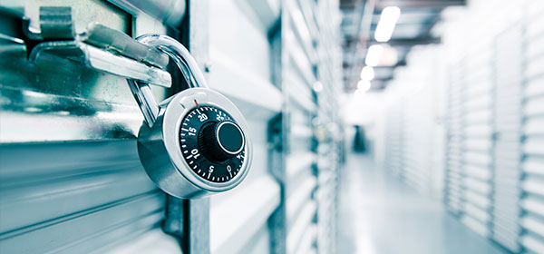 Self Storage facility with combination lock in foreground