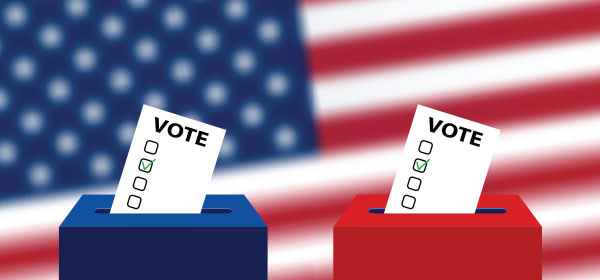 Red and blue voting boxes with American flag