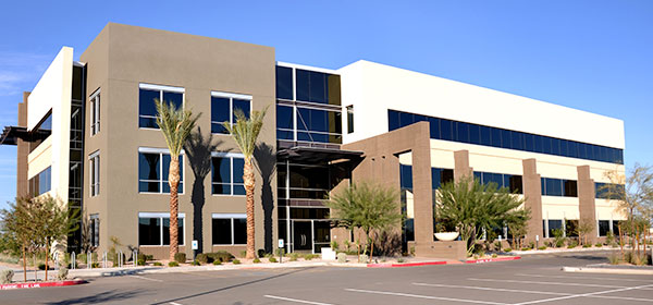 Office building with palm trees